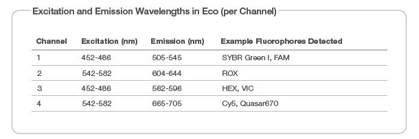 Excitation and Emission Wavelength in Eco
